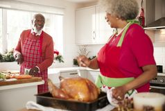 Starsza murzynka przygotowywa pieczonego indyka dla Bożenarodzeniowego gościa restauracji zwrotów opowiadać jej mąż, sieka warzyw zdjęcia stock