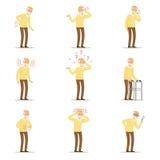 Starsza osoba mężczyzna choroby, bólowy problem w plecy, szyja, ręka, serce, kolano i głowa, Starsi zdrowie ustawiający kolorowa  royalty ilustracja