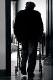 Starsza osoba mężczyzna use piechur (chodzi ramę) fotografia stock