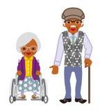 Starsza para afrykanin, wózek inwalidzki kobieta i Chodzący trzcina mężczyzna -, ilustracja wektor