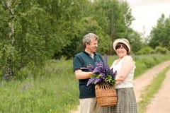 Starsza para chodzi przez lasu i mężczyzna daje kobiecie tkanemu koszowi z bukietem kwiaty purpurowi lupines Obraz Stock