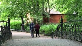 Starsza para cieszy się chodzić w lato parku zbiory