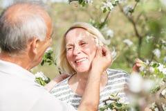 Starsza para cieszy się moment w ich kwitnie ogródzie Zdjęcie Royalty Free