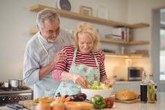 Starsza para miesza warzywa sałatkowych w pucharze Obraz Royalty Free