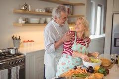 Starsza para patrzeje each inny podczas gdy mieszający warzywa w kuchni Zdjęcia Stock
