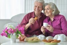 Starsza para pije herbaty Zdjęcia Royalty Free