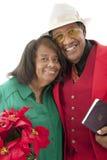 Starsza para przy bożymi narodzeniami Fotografia Royalty Free