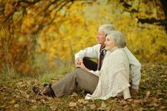 Starsza para w jesieni Zdjęcie Royalty Free