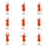 Starsze kobiet choroby, bólowy problem w plecy, szyja, ręka, serce, kolano i głowa, Starsi zdrowie ustawiający kolorowa kreskówka ilustracja wektor