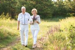 Starsze osoby chodzi outdoors dobierają się w białej pościeli sukni, w rękach wiązka kwiaty, uśmiechy, na ich twarzach i na półdu obrazy royalty free