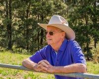 Starsze osoby obsługują patrzeć nad ogrodzeniem w padok fotografia stock