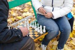 Starsze osoby obsługują grę szachy z kobietą siedzą wpólnie na drewnianej parkowej ławce zdjęcie royalty free