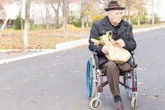 Starsze osoby obsługują w wózku inwalidzkim robi sklepu spożywczego zakupy Fotografia Stock
