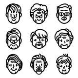 Starsze osoby, starość mężczyzna i kobiety kreskówki ikony wektor, ilustracja wektor