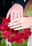 Starsze pary mienia ręki nad ślubnym czerwieni róży bukietem fotografia stock