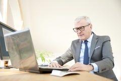 Starszego biznesmena pracujący laptop Zdjęcie Stock