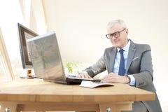 Starszego biznesmena pracujący laptop Zdjęcia Stock