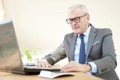Starszego biznesmena pracujący laptop Zdjęcie Royalty Free