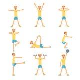 Starszego mężczyzna charakter ćwiczy set, zdrowy aktywny stylu życia emeryt, stare sprawność fizyczna wektoru ilustracje Obraz Stock