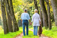 Starszego mężczyzna i kobiety mienia ręki odprowadzenie Fotografia Royalty Free