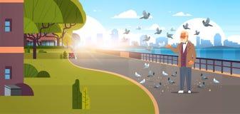 Starszego mężczyzny karmienia kierdel gołębiego nowożytnego miasta quay pejzażu miejskiego drapacz chmur miastowego tła sztandaru ilustracja wektor