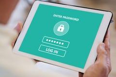 Starszego mężczyzny ręka używać pastylkę z hasło nazwą użytkowniką na ekranie, cyber ochrony pojęcie obrazy royalty free