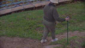 Starszej kobiety odprowadzenia północny puszek wzgórze zbiory wideo