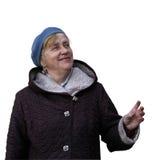 Starszej kobiety przyglądający up wskazywać z jej ręką Zdjęcie Royalty Free