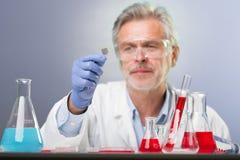 Starszej nauki przyrodnicze badawczy badać w nowożytnym naukowym laboratorium obraz royalty free
