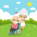 Starszej osoby para bierze opieki obsiadanie na wózku inwalidzkim royalty ilustracja