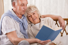 Starszej pary czytelnicza książka Zdjęcia Stock