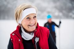 Starszej pary przez cały kraj narciarstwo zdjęcia royalty free