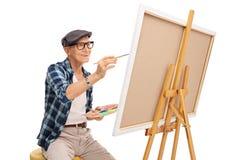 Starszy artysty obraz na kanwie Zdjęcie Stock