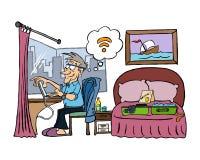 Starszy biznesmen pracuje w jego pokoju hotelowym ilustracja wektor