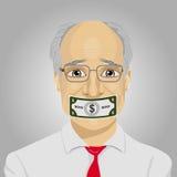 Starszy biznesmen z dolarowym rachunkiem nagrywał usta Łapówkarstwa pojęcie w polityka, biznes, dyplomacja ilustracji
