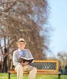 Starszy dżentelmen czyta książkę w parku Fotografia Stock