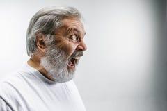 Starszy emocjonalny gniewny mężczyzna krzyczy na białym pracownianym tle Fotografia Stock