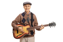 starszy gitary mężczyzna bawić się Obraz Royalty Free