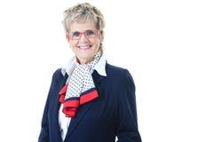 Starszy kobiet szarość tło Zdjęcie Royalty Free