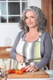 Starszy kobiety kucharstwo Obrazy Stock