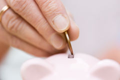 Starszy kobiety ręki kładzenia pieniądze prosiątko bank Obrazy Stock