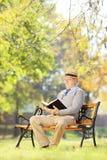 Starszy mężczyzna czyta książkę z kapeluszem sadzał na drewnianej ławce Obraz Royalty Free