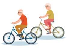 Starszy mężczyzna i kobiety jazda na bicyklu Zdjęcia Royalty Free