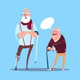 Starszy mężczyzna Komunikuje gadka bąbel Z kij Nowożytną Dziadek Pełną długością royalty ilustracja