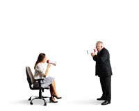 Starszy mężczyzna krzyczy przy bizneswomanem Fotografia Stock