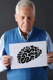 Starszy mężczyzna mienia atramentu rysunek   Obrazy Royalty Free