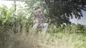 Starszy mężczyzna relaksuje w ogródzie zdjęcie wideo