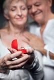 Starszy mężczyzna robi propozyci stara kobieta; Zdjęcie Stock