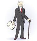Starszy mężczyzna stoi trzymać książkę Obraz Stock
