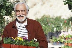 Starszy mężczyzna Z Flowerpots zdjęcie stock
